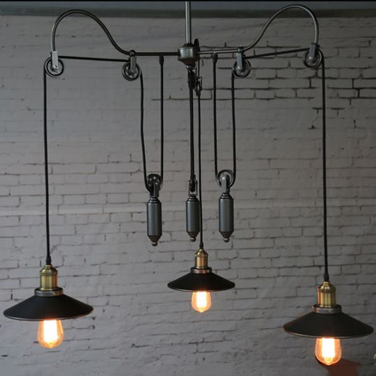 Country style Pulley Pendant Lights. Retro Trigeminal lift Pulley Rope Antique Edison suspension. Industrial LOFT  iron lamp