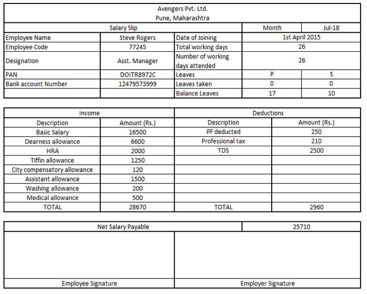Salary Slip Format in India Salary, Hr block, Tax return