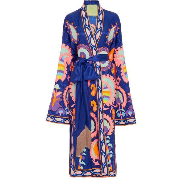 Yuliya Magdych Delight Silk Robe ($2,670) ❤ liked on Polyvore featuring intimates, robes, yuliya magdych, blue, kimono dressing gown, long kimono robe, blue kimono, kimono robe and long bathrobe