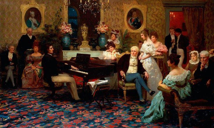 Chopin Playing The Piano In Prince Radziwills Salon Painting by Hendrik Siemiradzki