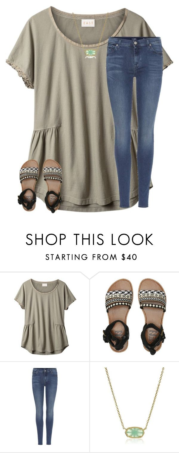 """""""Just finished the papertowns movie"""" by christyaphan ❤ liked on Polyvore featuring EAST, Billabong, 7 For All Mankind and Kendra Scott"""