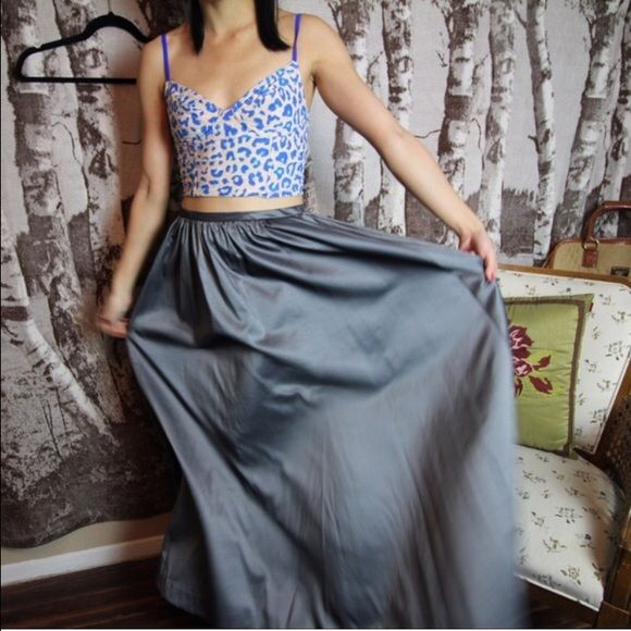 French Connection petite pewter maxi skirt Makes great swishy sounds when you walk French Connection Skirts Maxi