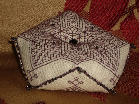 Plum Tudor Blackwork Star Motif Beaded Biscornu 8 sided Pincushion by RedCatt, £9.25: Side Pincushions