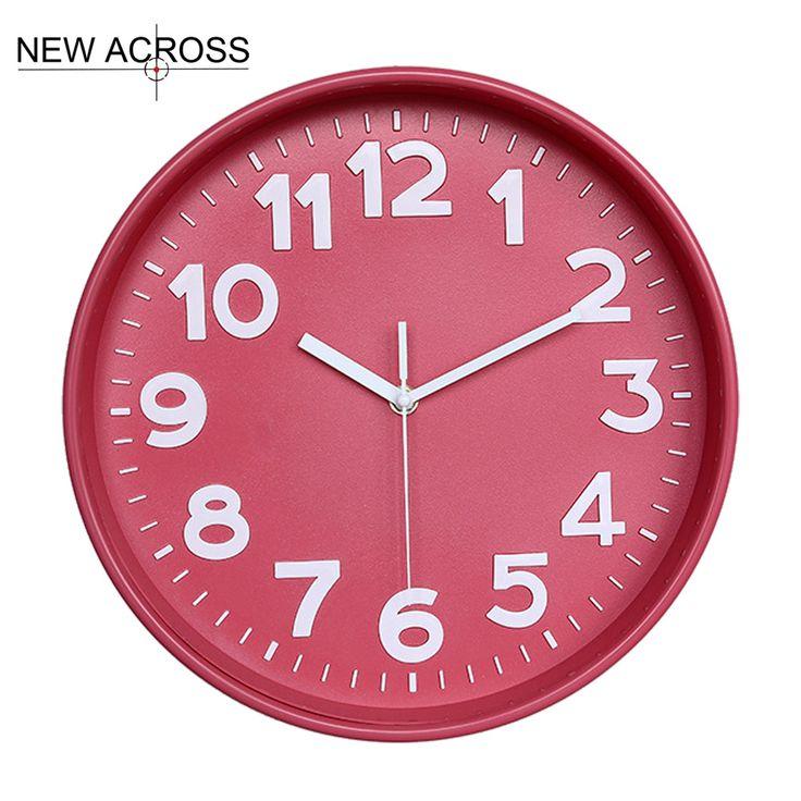 Gohide 1pcs Modern European clock American clock candy color 12-inch Home Furnishing large digital clock minimalist style