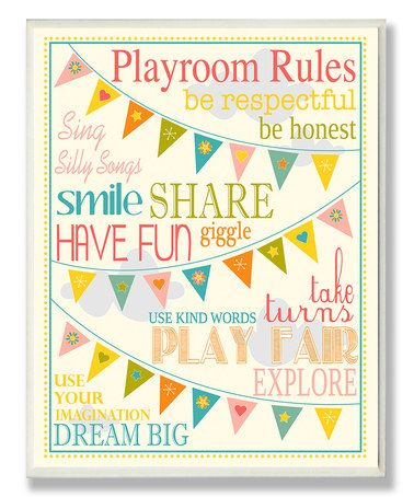 Look what I found on #zulily! Yellow 'Playroom Rules' Wall Sign #zulilyfinds