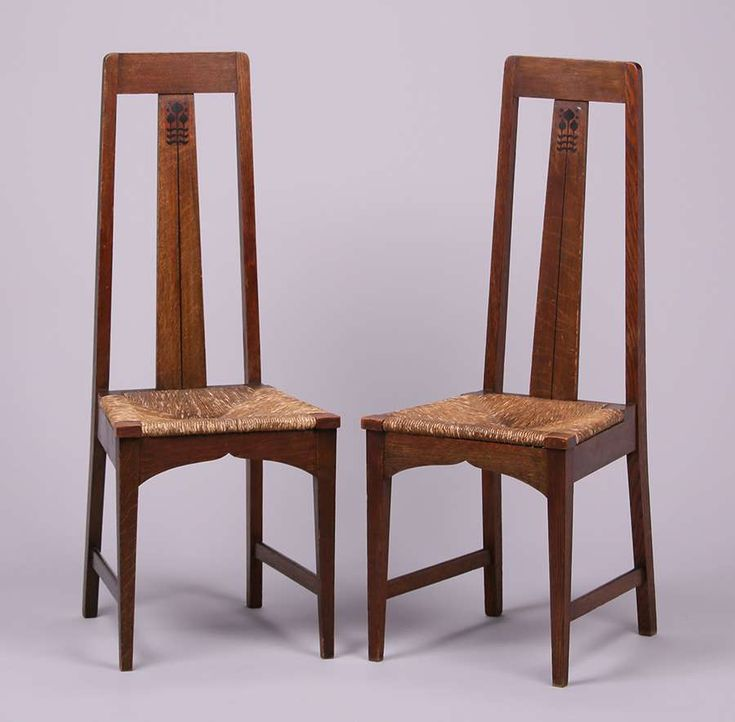 Pair Of English Arts U0026 Crafts Tall Back Hall Chairs C1900 1905. Unsigned But