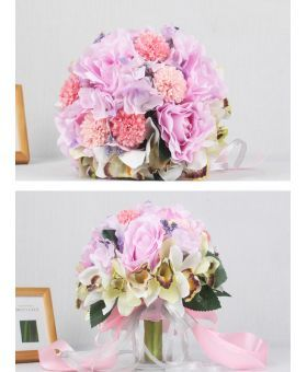 Elegant Pink and white Round Artificial Silk Ribbon Wedding Bouquet