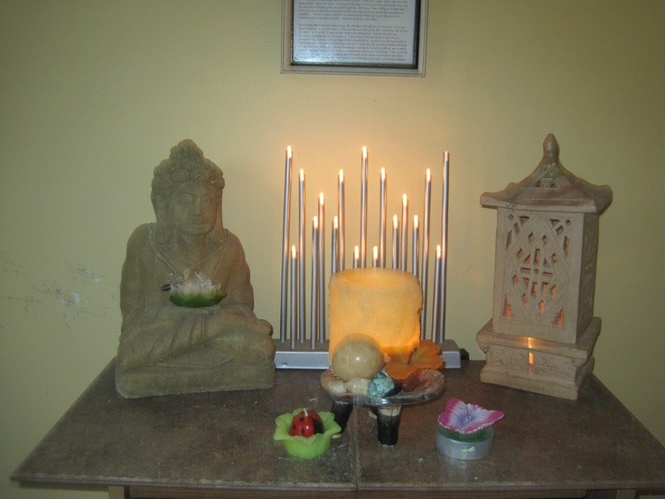A Buddhist prayer alter in our home.   For those who understand,  no explanation is necessary.  For those who do not,  no explanation is possible.