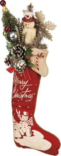 Vintage Filled Christmas Stocking