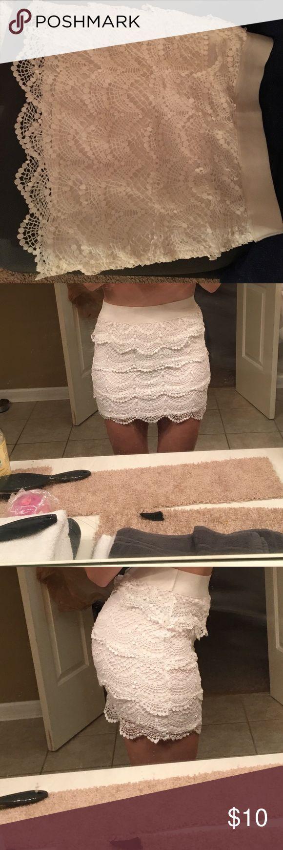 White lace Bethany Mota skirt. XS White lace Bethany Mota Skirt. XS. 95% cotton Aeropostale Skirts Mini