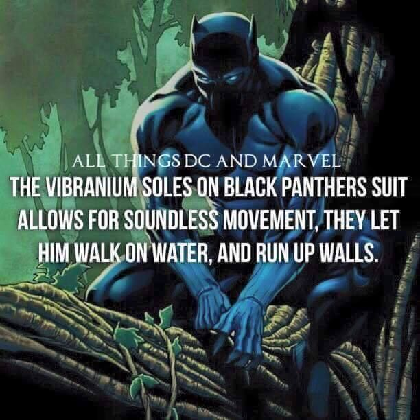 The vibranium soles on Black Panther's suit allows for soundless movement they let him walk on water and run up walls.