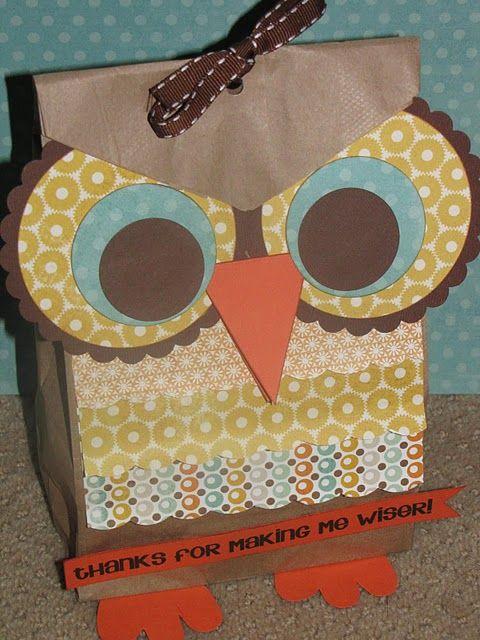 owlTeacher Gifts, Gift Bags, Treats Bags, Teachers Gift, Gift Ideas, Teachers Appreciation, Paper Bags, Diy Gift, Owls
