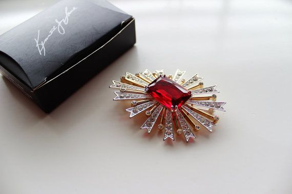 Kenneth Lane KJL Large Ruby Red Brooch/Pin by Jewelrin on Etsy  #KJL_Brooch_Vintage #Kenneth_Lane_Vintage_Jewelry