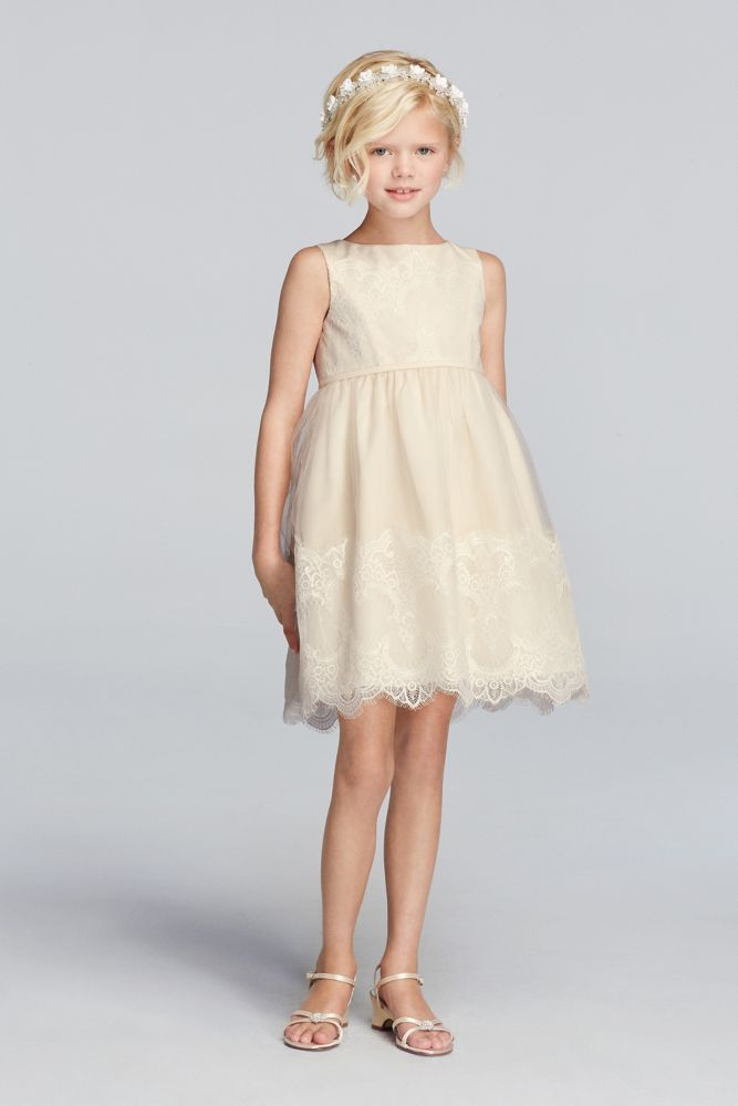 Tank Tulle Flower Girl Dress With Lace Applique Ivory
