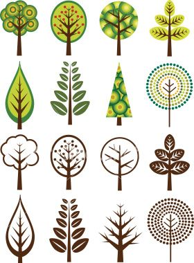 Retro Trees Royalty Free Stock Vector Art Illustration