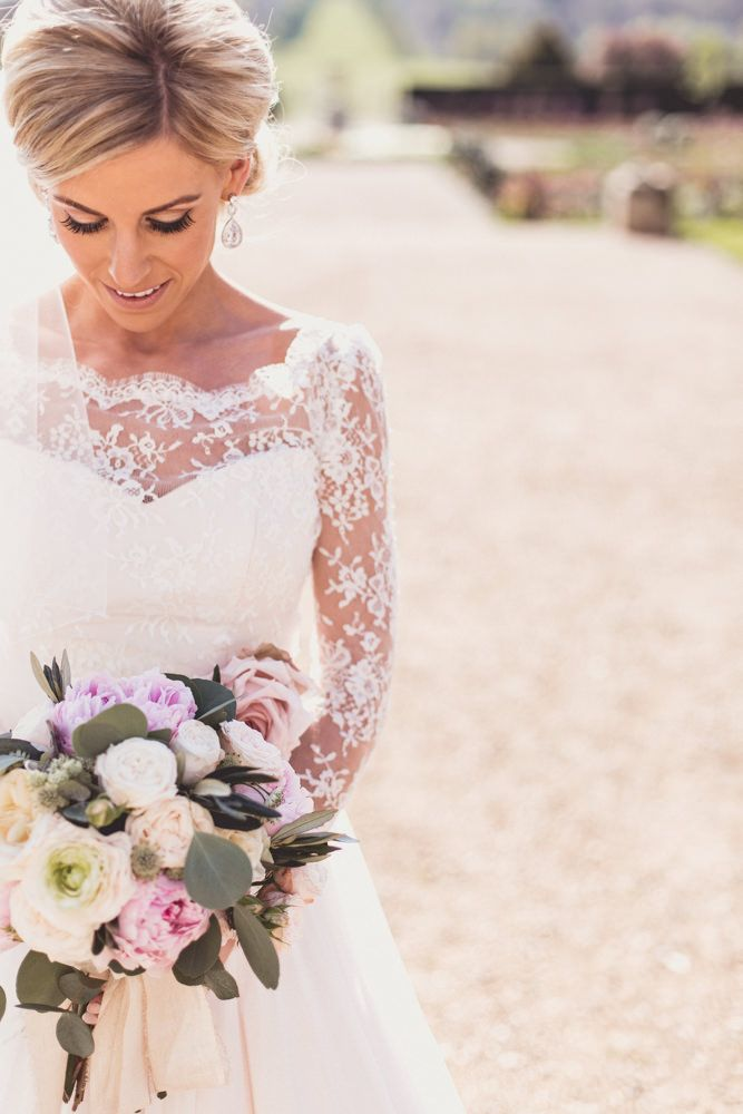 Pink & White Rose & Peony Bridal Bouquet | Classic wedding at Ragley Hall | Pink Colour Scheme | Pastel Flowers | Image by Anna Clarke Photography |  http://www.rockmywedding.co.uk/naomi-mark/