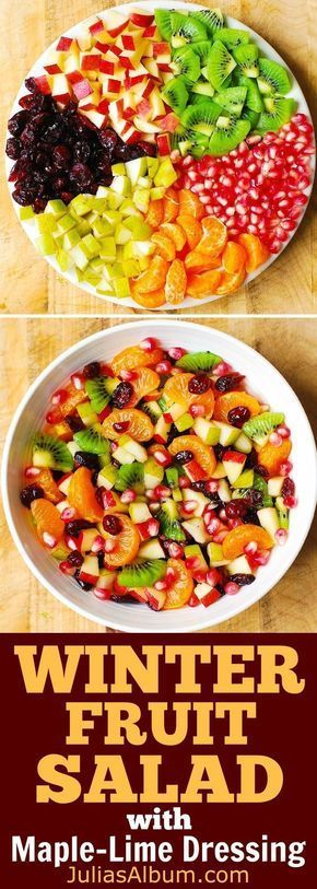 Winter Fruit Salad with Maple-Lime Dressing #Thanksgiving #Christmas #holidays