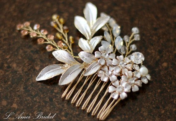 Pretty in rose golden Comb  Bridal Flower Hair Accessory  by LAmei