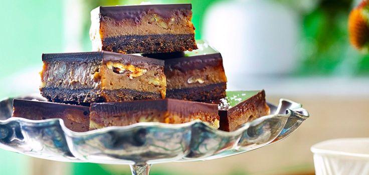 Chocolate and salted caramel slice