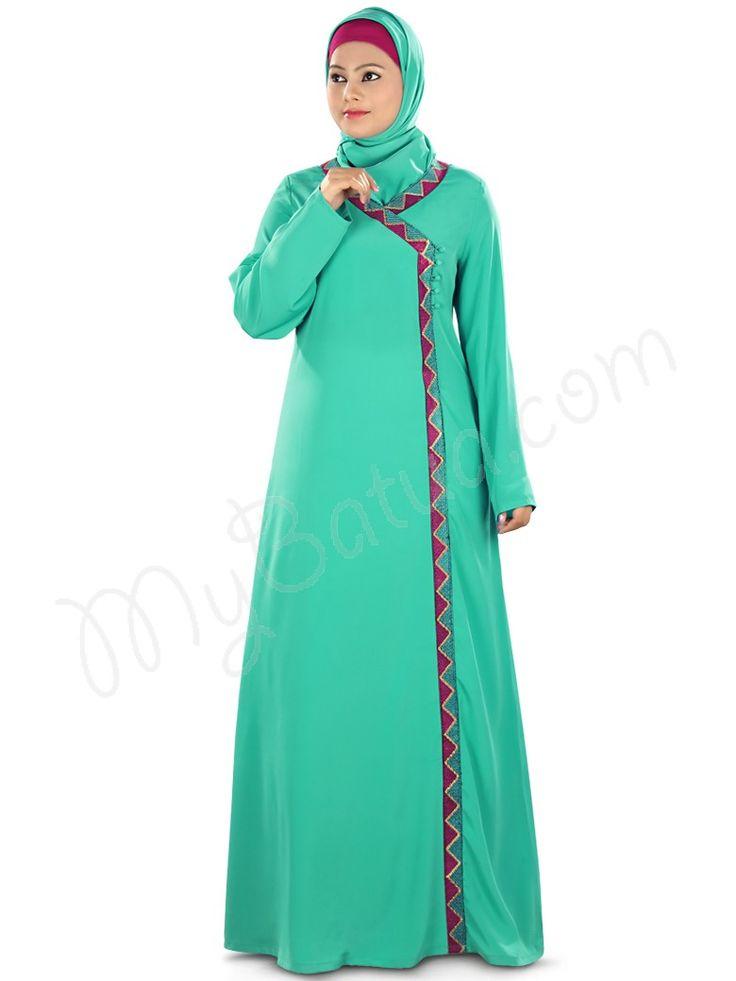 Gorgeous Turquoise_Green Party Wear Maryum Abaya   MyBatua.com Style No : AY-316 Price : $57.40 Available Sizes XS to 7XL