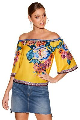 Floral border print off-the-shoulder top from Boston Proper  $89
