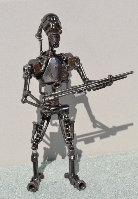 Hand Made Battle Droid 10 Inches Recycled Scrap Metal