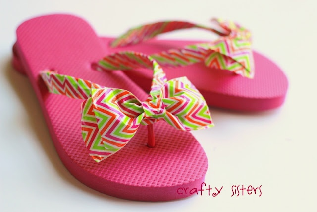 Duct tape flipflops by Crafty Sisters