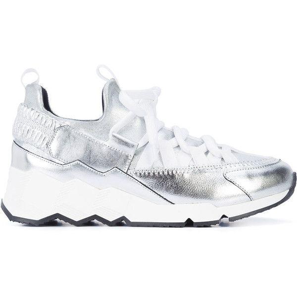 Pierre Hardy Metallic Trek Comet Sneakers ($595) ❤ liked on Polyvore featuring shoes, sneakers, metallic, pierre hardy, pierre hardy shoes, fleece-lined shoes, pierre hardy sneakers and metallic sneakers