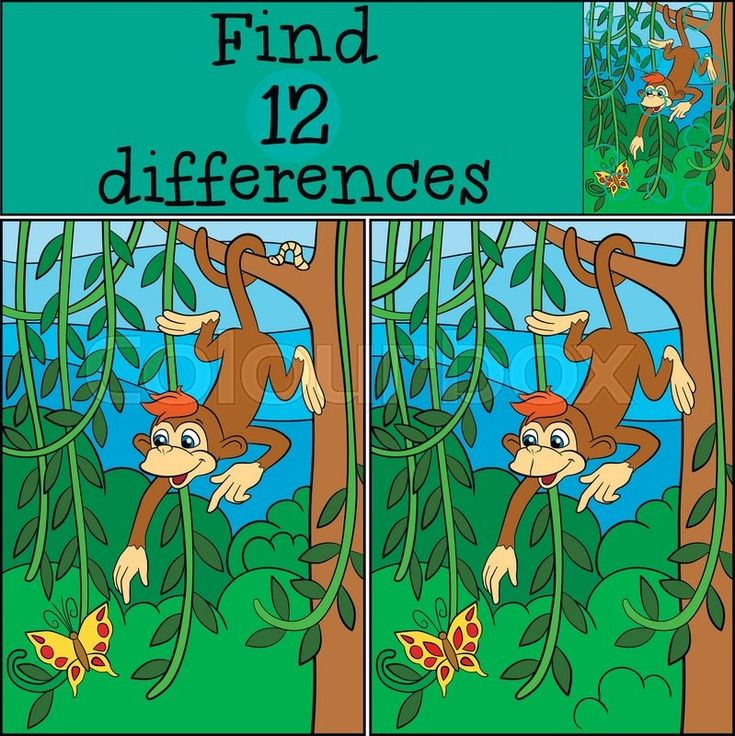 Stock vector of 'Children games: Find differences. Little cute monkey hangs on the tree and looks at the butterfly.'
