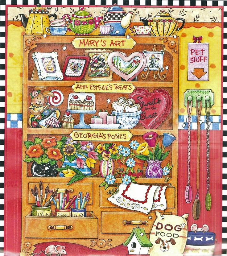 Mary's art, ann estelle's treats, georgia's posies, repurposed dresser; by Mary engelbreit