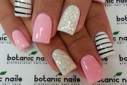 disenos unas rosado, nail design in pink