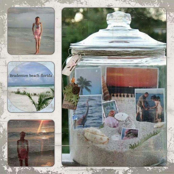 Glazen pot met zand, schelpen en vakantiefoto's: leuk souvenir :-)
