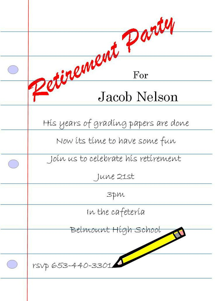 16 best Teacher retirement party invitations images on Pinterest ...