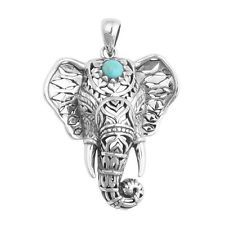 Womens Retro Tibetan Silver Kallaite Animal Elephant Pendant Necklace Jewellery