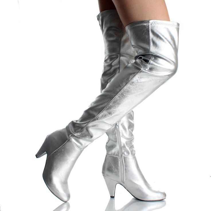 Silver Classic Over The Knee Dress High Heel Womens Thigh High ...