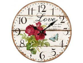 Nástěnné hodiny růže LOVE, 34 cm