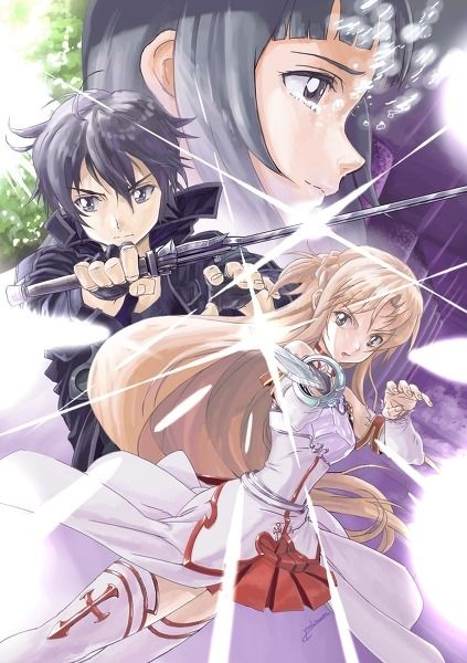 Sword Artwork On-line- kirito, asuna, and yuuki