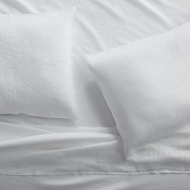 Lino II White Linen Sheets and Pillow Cases | Crate and Barrel