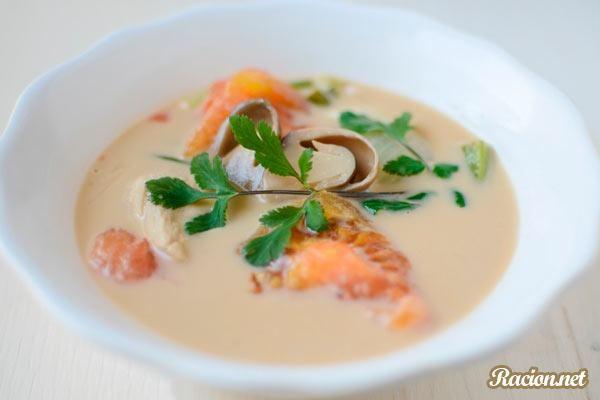 Рецепт Тайский куриный суп с кокосовым молоком. Приготовление   блюда