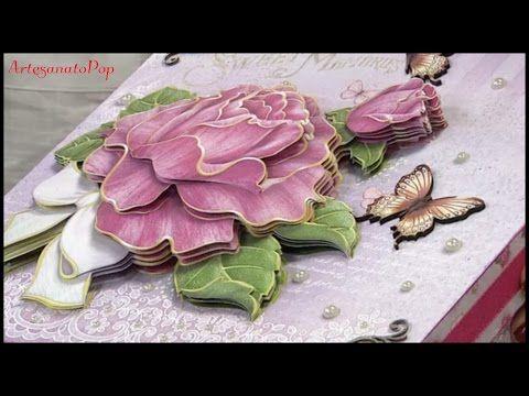 Artesanato c/Papel- Arranjo de Flores 3D - Fácil de Aprender - YouTube
