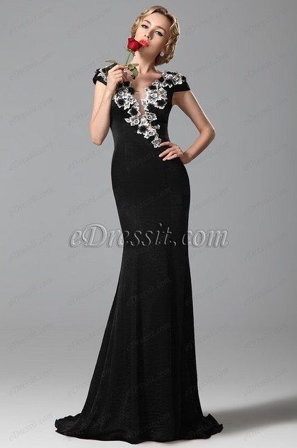 eDressit Gorgeous Embroidery Applique Cap Sleeves Black Evening Gown Formal Dress