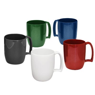 Kafo Coffee Mug made using Recycled Plastic. Dimensions: 80 x 98 x 80mm. Print Area: Wrap-around; 189 x 50mm - Two sided; 63 x 50mm. Additional Info: 330ml Recycled SAN plastic Coffee Mug with an easy-grip handle. Non Chip. Minimum Qty: 100 Pieces.