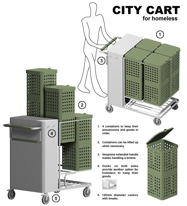 Personal Emergency Shelters : City cart homeless mobile shelter with sufficient