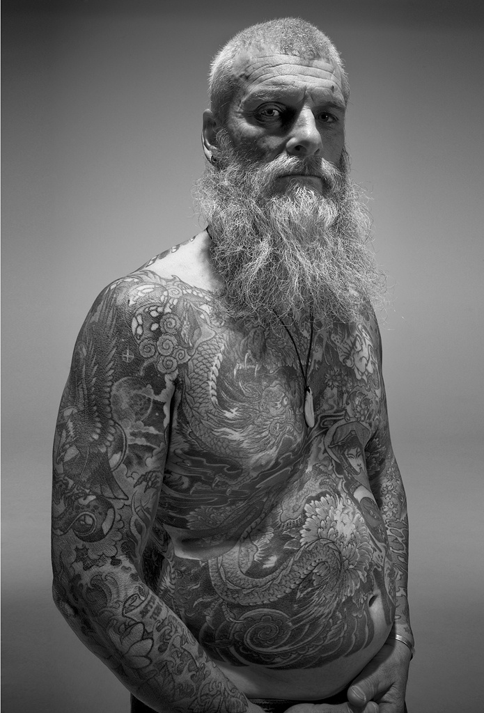 Black and White Tattoo Portrait Body Suit photographed by Gary Compton Photography