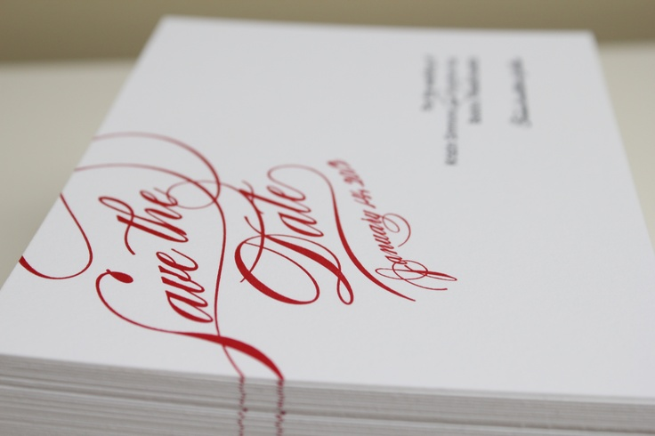 red velvet save the dates by yourstrulypaper.com