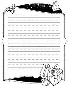 Papier à lettre à utiliser pour les situation d'écriture du temps des fêtes. Idéal pour les messages des cartes de Noël ou pour transcrire des textes au propre. Deux modèles et trois sortes de lignes sont proposés. – ou – Thème: Noël Niveaux: 1re, 2e, 3e, 4e, 5e, 6e Domaines: Écriture 6 pages Suggestions!
