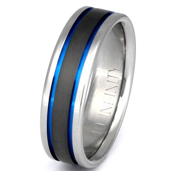 Titanium Wedding Band Thin Blue Line Ring by TitaniumRingsStudio