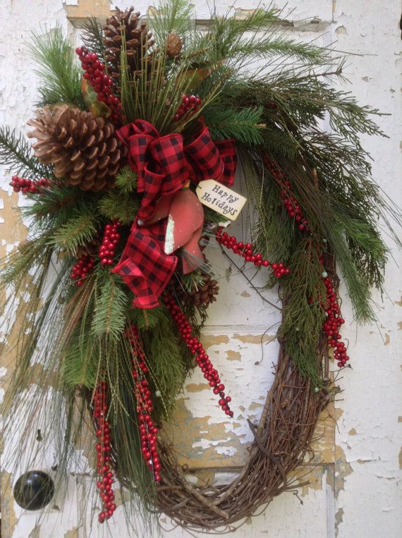 Large Christmas Wreath- Rustic Winter Wreath, Primitive Christmas Wreath, Cardinal Wreath