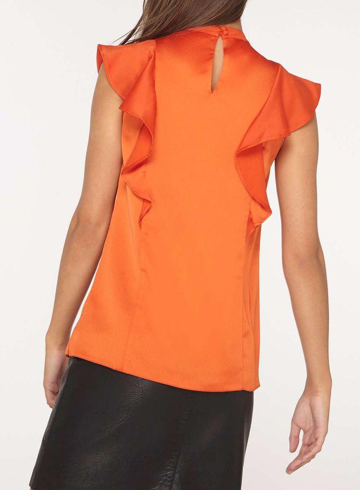 Womens **Tall Orange Ruffle Sleeveless Top- Orange