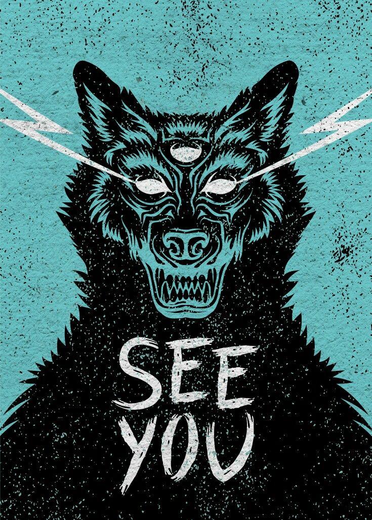 Claudia Bagolin - #blackwolf #wolf #eyes #illustration #vector #monster #poster